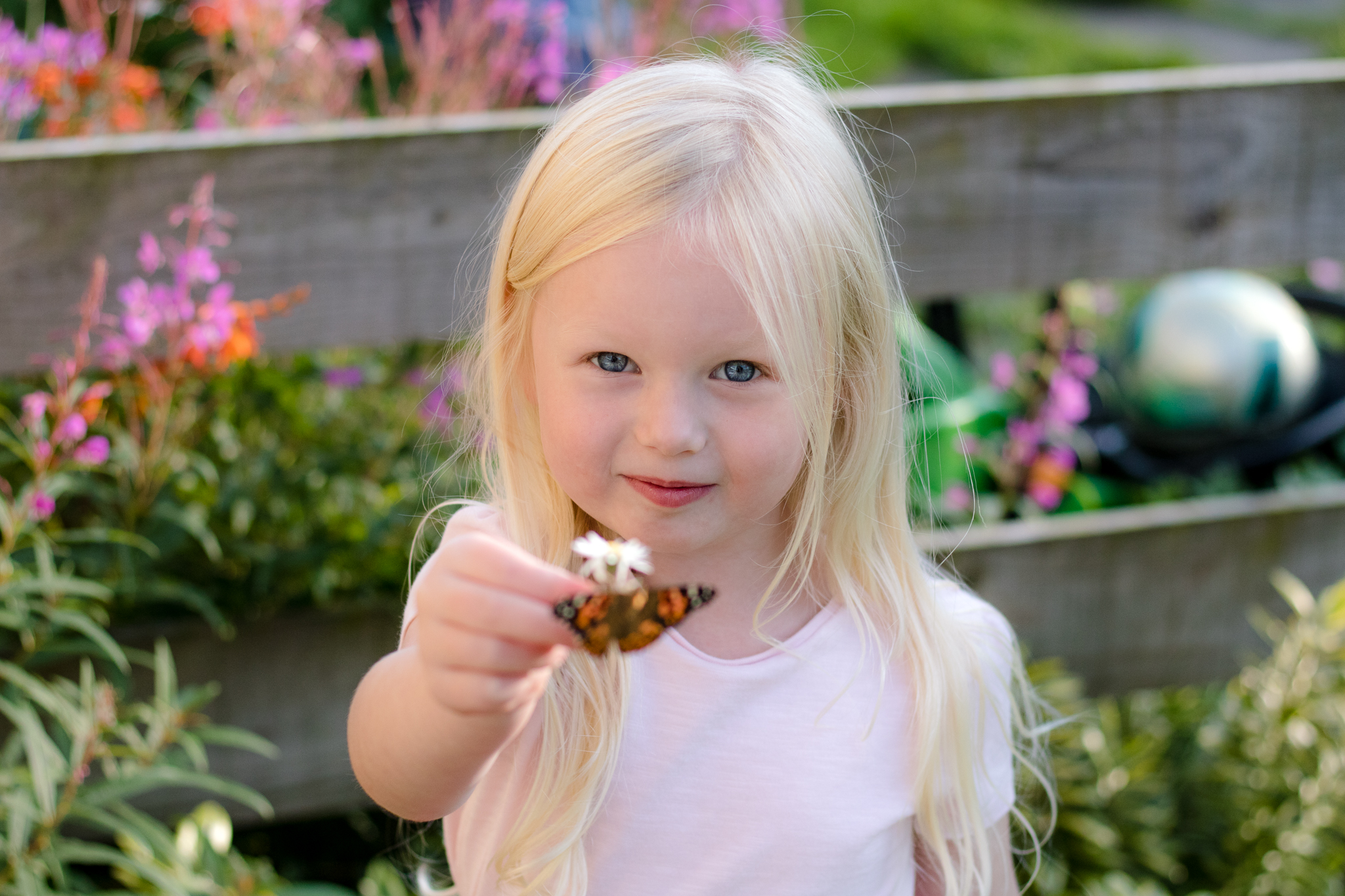 Girl holding butterfly