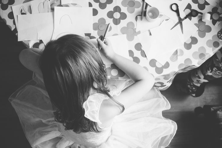 Aberdeenshire Family Photographer Debbie Dee Photography In-Home Lifestyle Photography - girl doing arts and craft