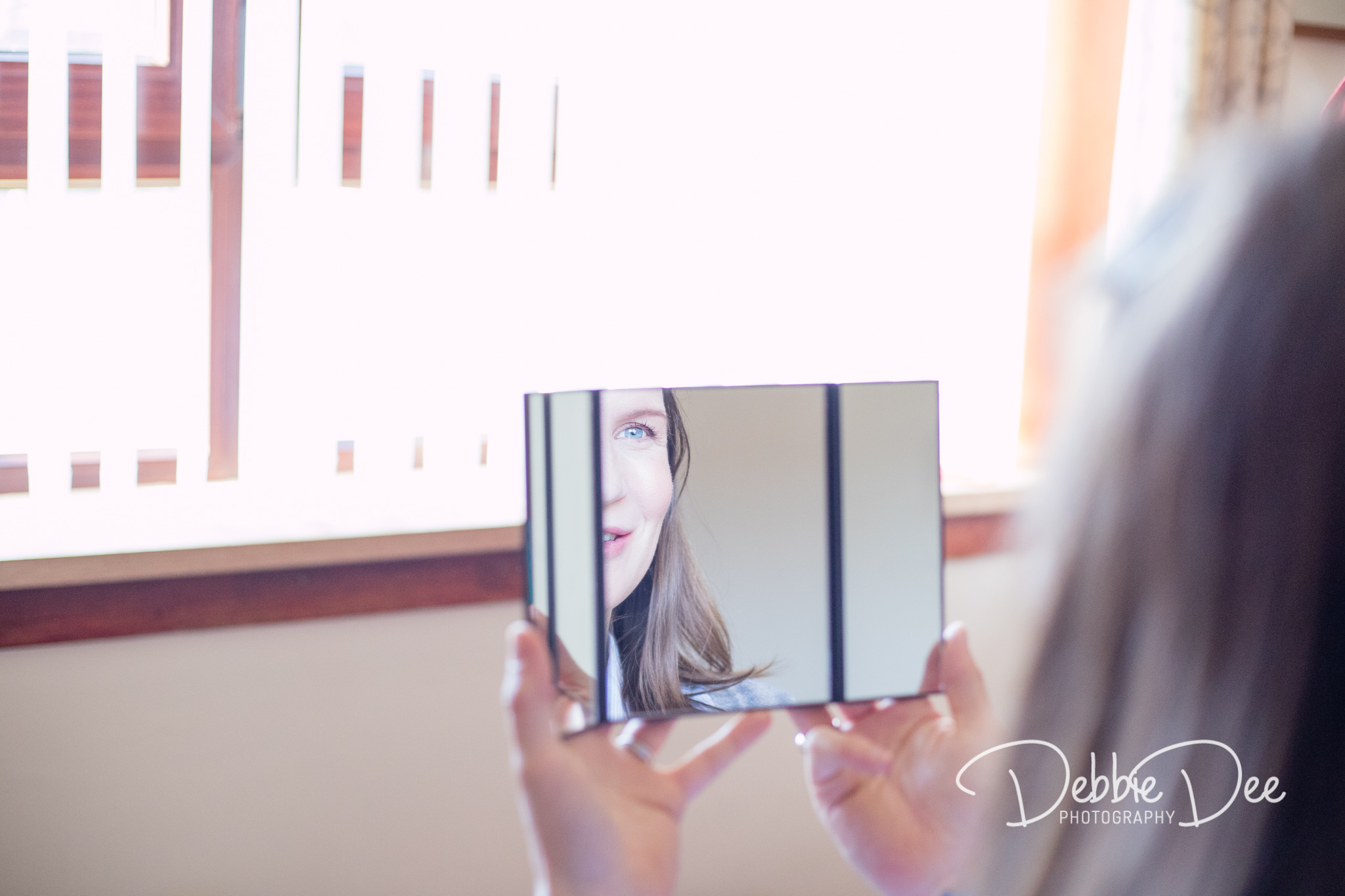 Aberdeenshire Maternity Photography Session - Make-up by Tiffany Dawson Make-Up Artistry - woman looking in mirror
