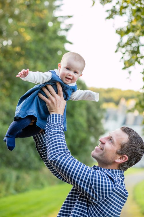 Family Photographer Aberdeenshire - Family photography aberdeenshire - Debbie Dee Photography - Lifestyle Family - Dad flying baby in the air