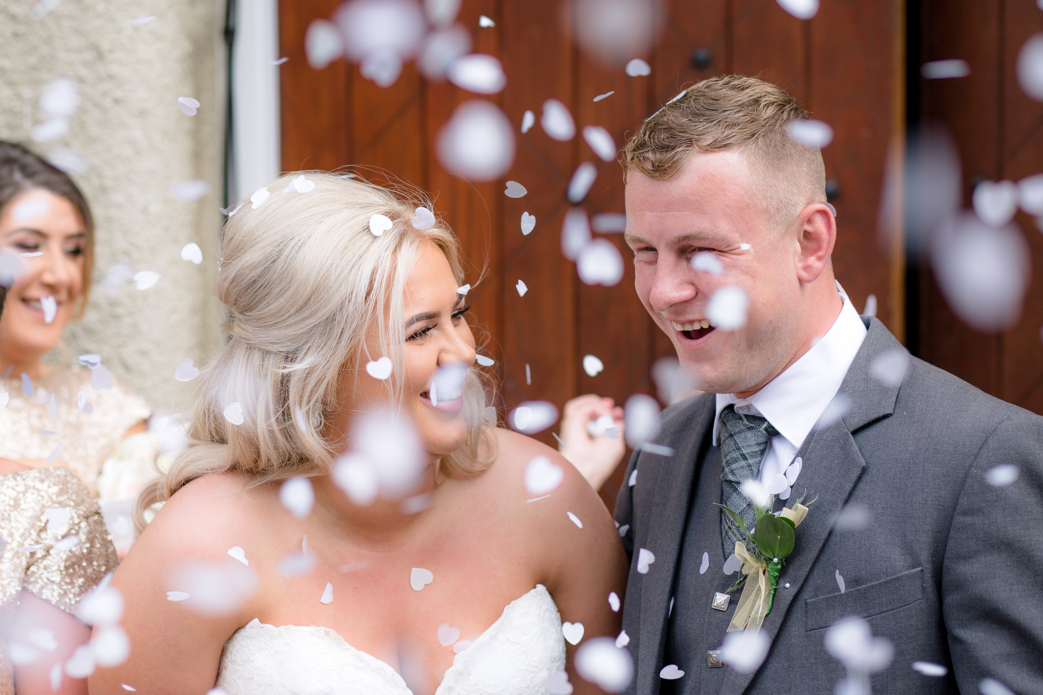 Confetti over bride and groom - Wedding photographer aberdeenshire, aberdeen, huntly, scotland - Debbie Dee Photography