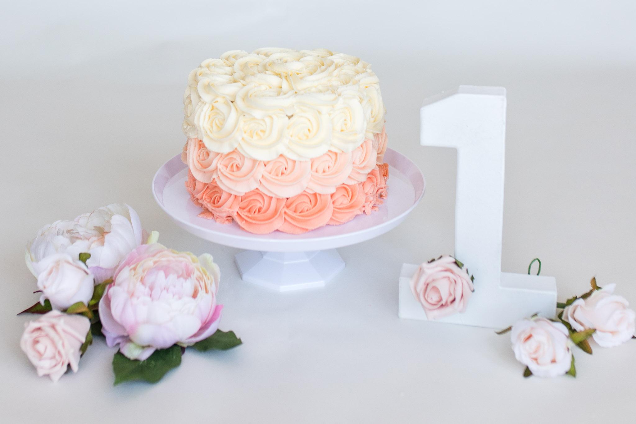 cake smash aberdeen - neeshas bakes cake peach colours - debbie dee photography